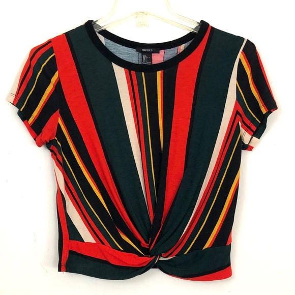 Forever 21 Tops - Forever 21 Striped Twist Front Crop Top